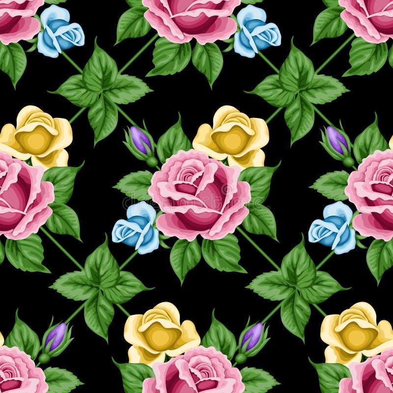 Modello senza cuciture d'annata con le rose illustrazione vettoriale