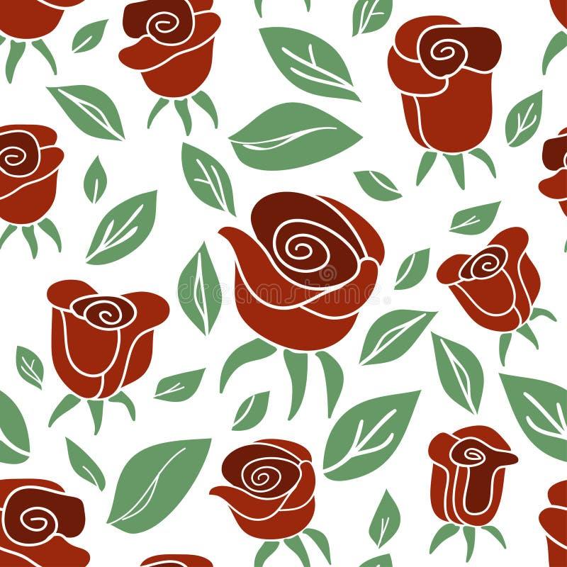 Modello senza cuciture d'annata con le rose rosse su fondo bianco illustrazione vettoriale