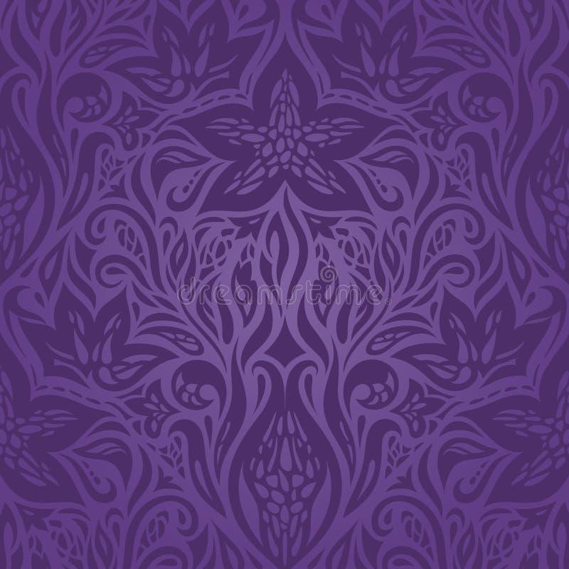 Modello senza cuciture d'annata decorato dei fiori porpora viola illustrazione di stock