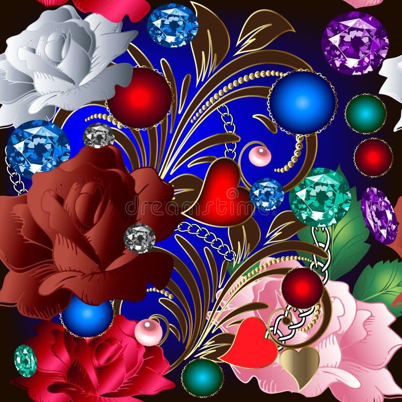 Modello senza cuciture d'annata dei gioielli 3d Fiori decorati delle rose del fiore Fondo floreale dei gioielli di vettore variop illustrazione di stock