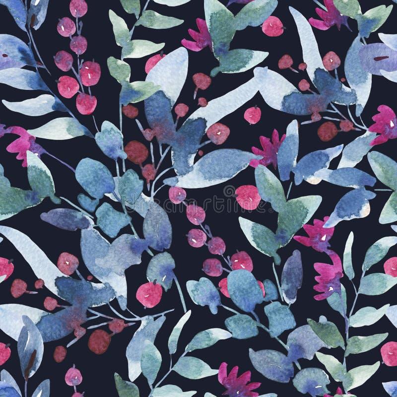 Modello senza cuciture d'annata dell'acquerello con le bacche, Wildflowers, foglie verdi illustrazione vettoriale