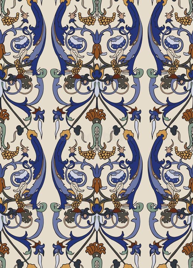 Modello senza cuciture d'annata di colore floreale Retro stile delle piante Fiori decorativi verticali, motivo moderno Damasco va royalty illustrazione gratis