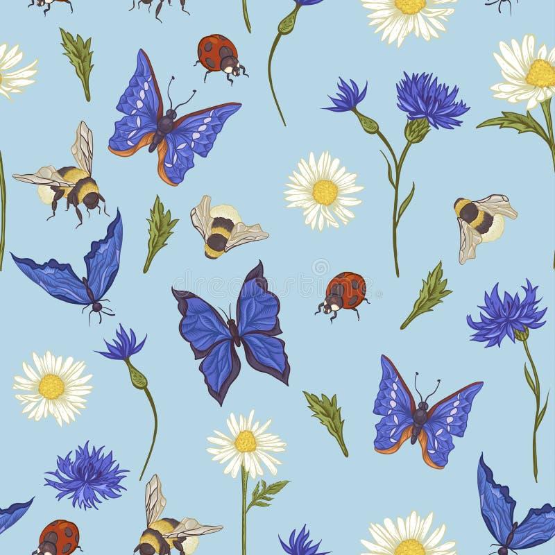 Modello senza cuciture d'annata di estate con la fioritura illustrazione vettoriale