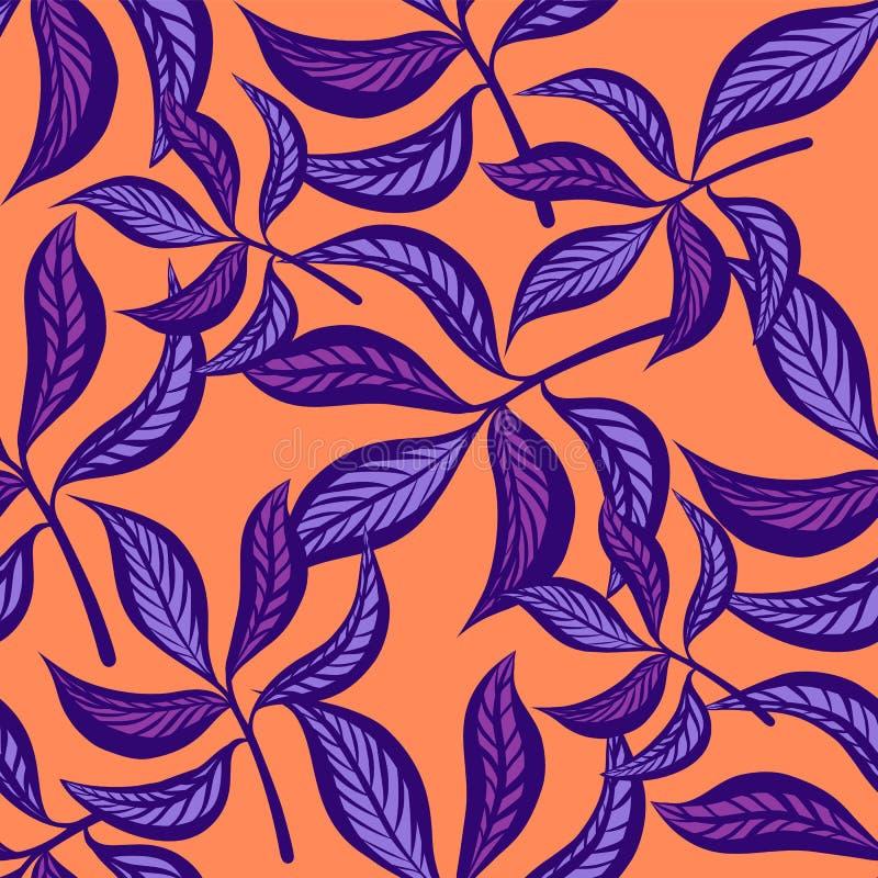 Modello senza cuciture d'annata disegnato a mano floreale con le foglie Foglie favolose del lillà su fondo peachy Senza giunte tr illustrazione vettoriale