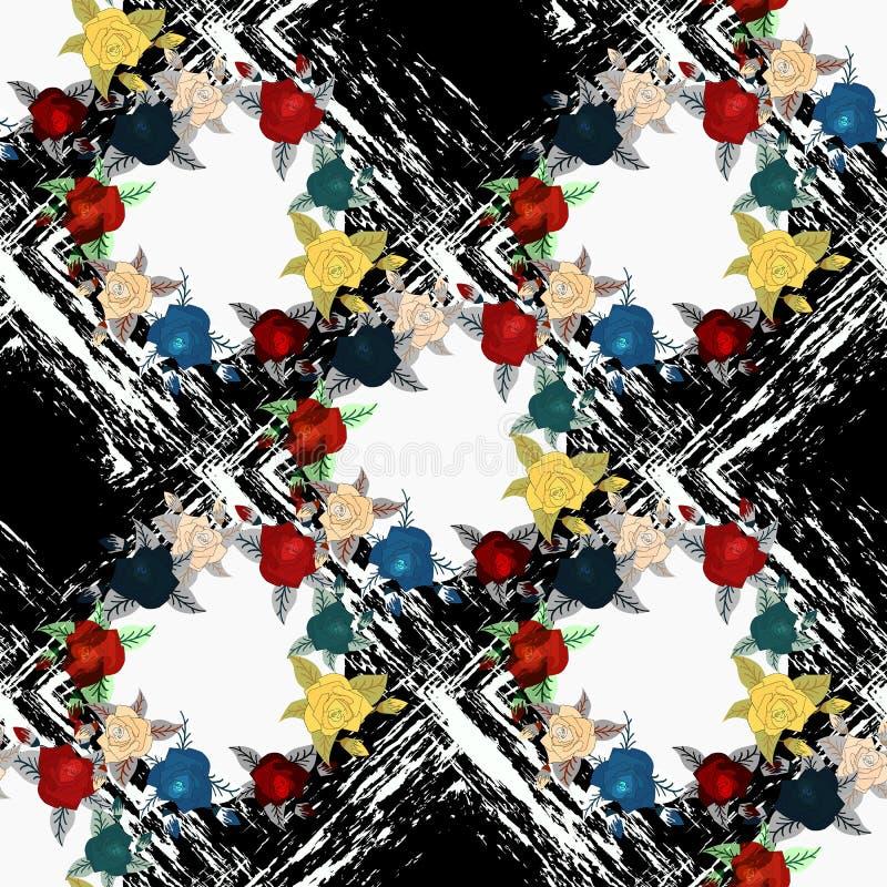 Modello senza cuciture d'annata d'annata elegante misero delle rose, dei tulipani e dei nontiscordardime, fondo floreale di ripet royalty illustrazione gratis