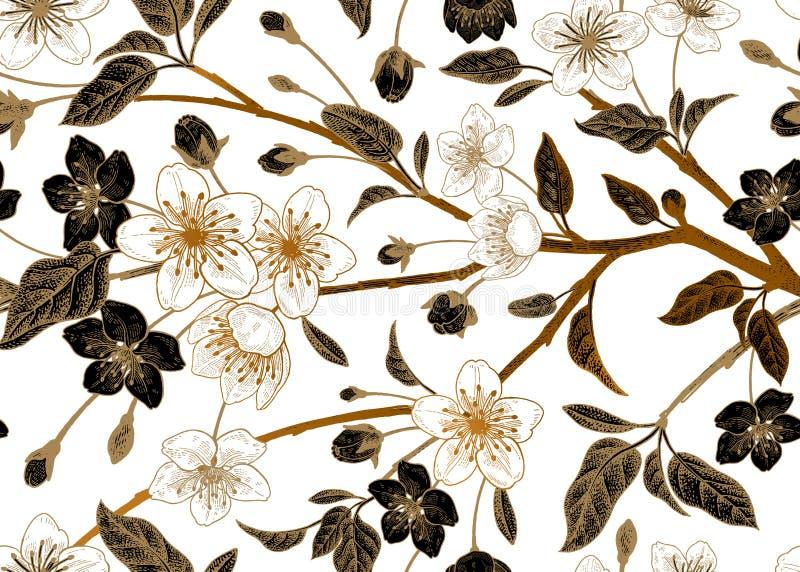 Modello senza cuciture d'annata floreale con la ciliegia giapponese royalty illustrazione gratis