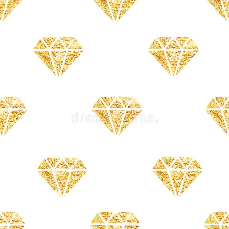 Modello senza cuciture d'ardore di vettore dei diamanti dorati della stagnola illustrazione di stock
