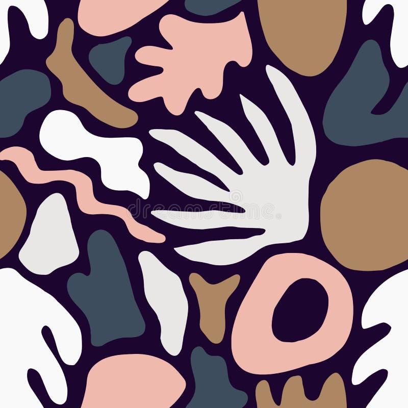 Modello senza cuciture d'avanguardia con il rosa insolito e forme o segni marroni della natura su fondo scuro Luminoso creativo c royalty illustrazione gratis