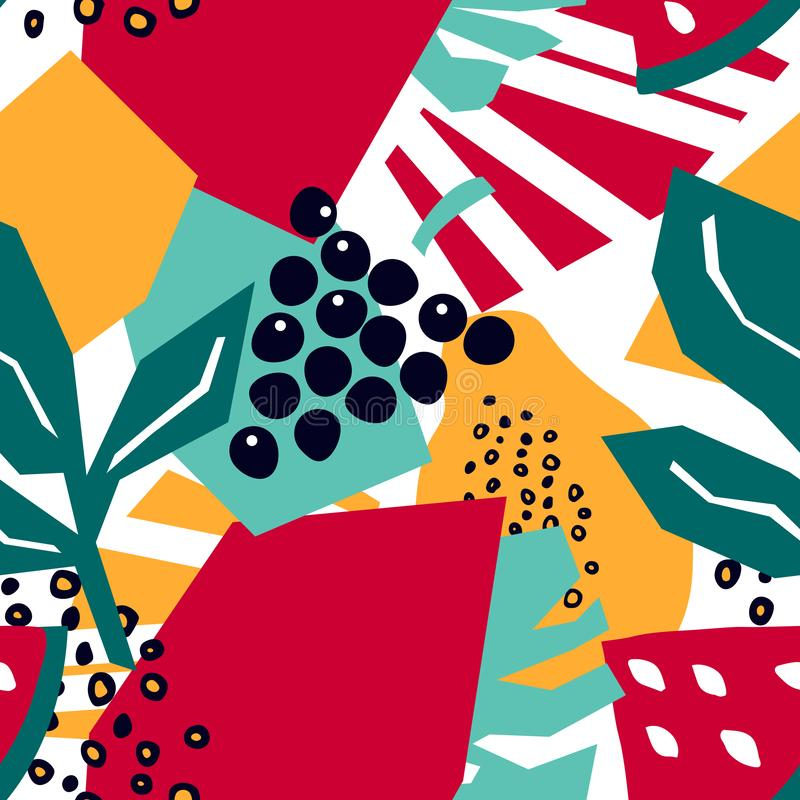Modello senza cuciture d'avanguardia con l'uva, le foglie di monstera, l'anguria e la papaia illustrazione vettoriale