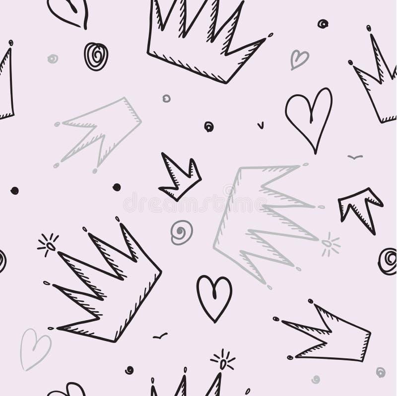 Modello senza cuciture d'avanguardia della ragazza con la corona, illustrazione di vettore royalty illustrazione gratis