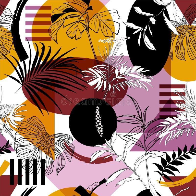 Modello senza cuciture d'avanguardia nel colore variopinto di schiocco di vettore geometrico con le piante botaniche e lo stile m illustrazione di stock