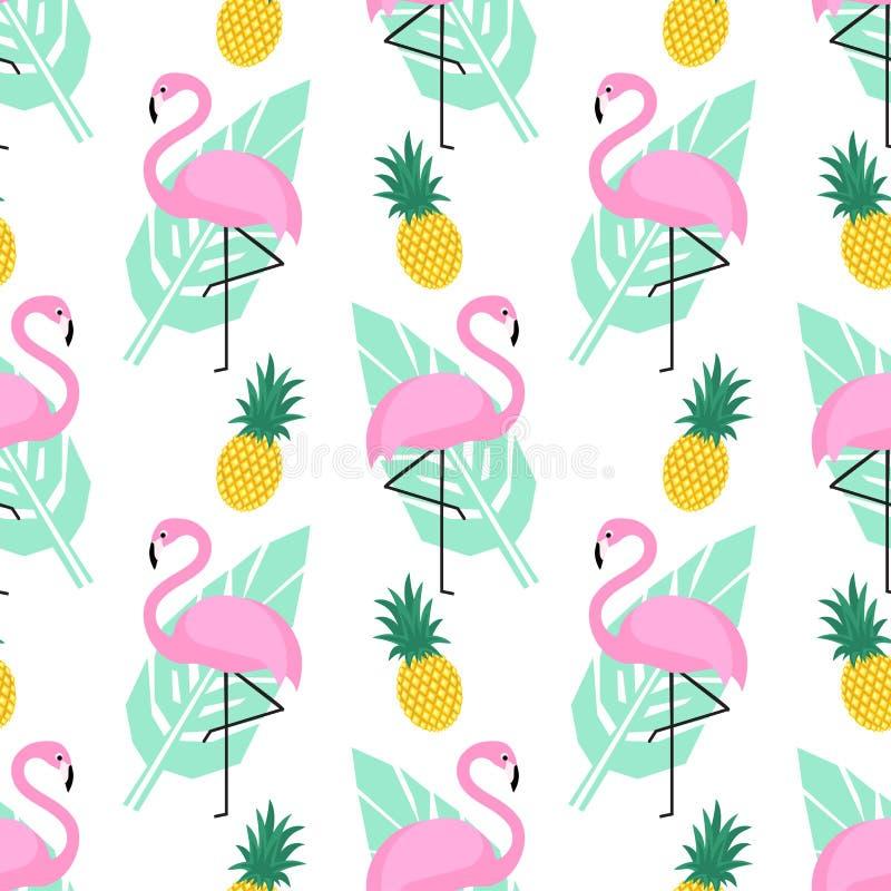 Modello senza cuciture d'avanguardia tropicale con i fenicotteri rosa, gli ananas e le foglie di palma verdi su fondo bianco illustrazione vettoriale