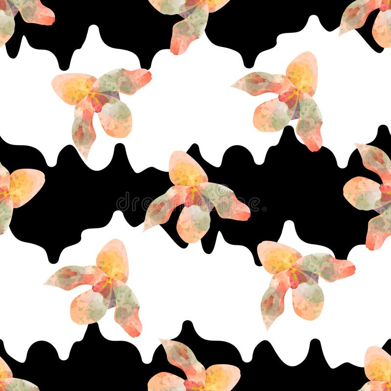 Modello senza cuciture d'avanguardia variopinto con le bande bianche e nere dei fiori dell'orchidea, royalty illustrazione gratis