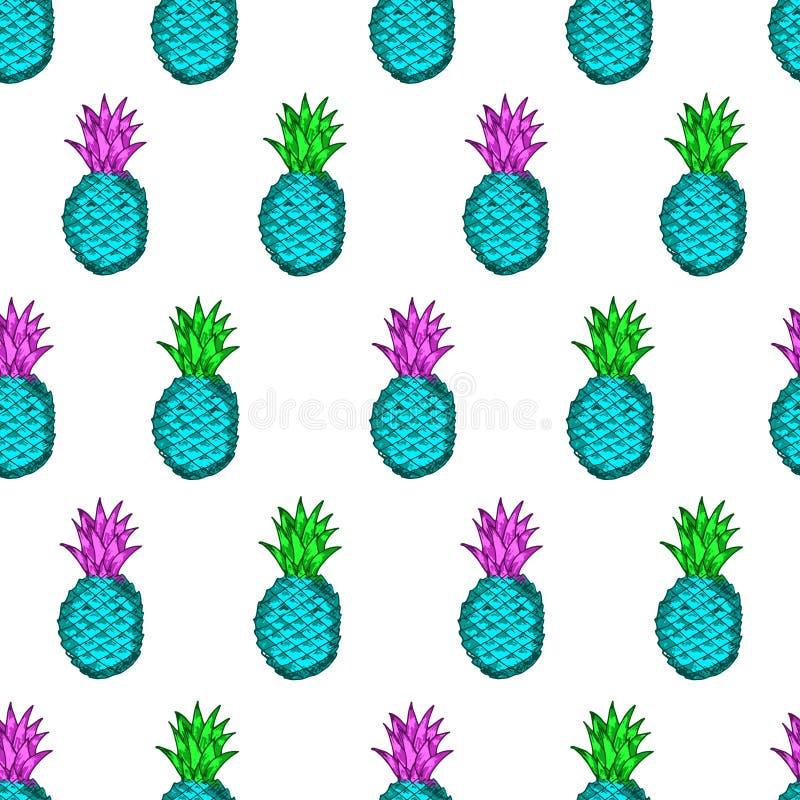 Modello senza cuciture dagli ananas variopinti disegnati a mano sul illustrazione di stock