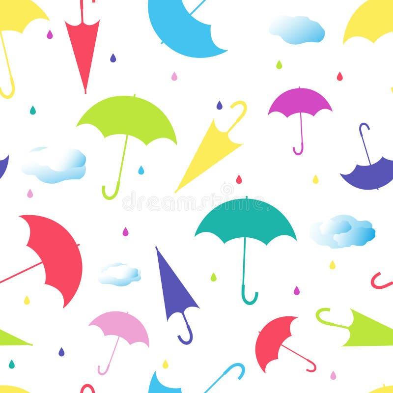 Modello senza cuciture dagli ombrelli nelle posizioni differenti su fondo bianco illustrazione vettoriale