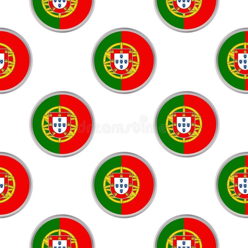 Modello senza cuciture dai cerchi con la bandiera del Portogallo royalty illustrazione gratis