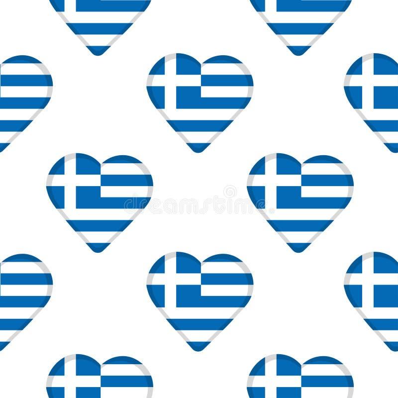 Modello senza cuciture dai cuori con la bandiera della Grecia illustrazione di stock