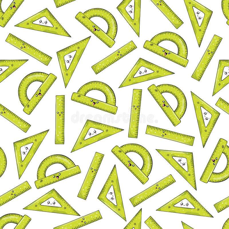 Modello senza cuciture dai righelli di colore verde nello stile di Kawai illustrazione di stock