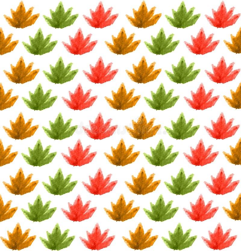 Modello senza cuciture dalle foglie, acquerello immagine stock libera da diritti