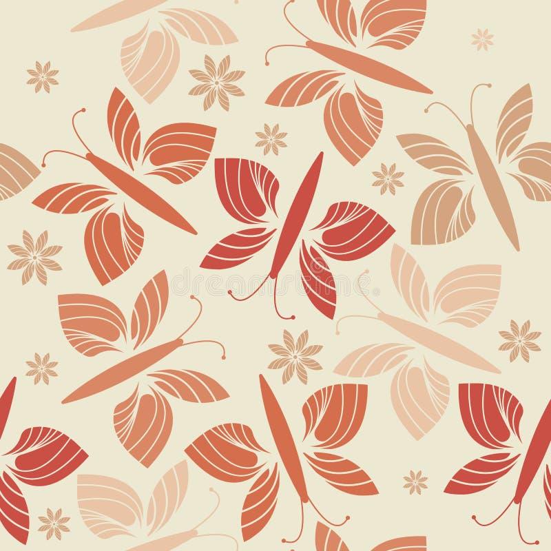 Modello senza cuciture decorativo con i fiori e le farfalle d'avanguardia illustrazione vettoriale