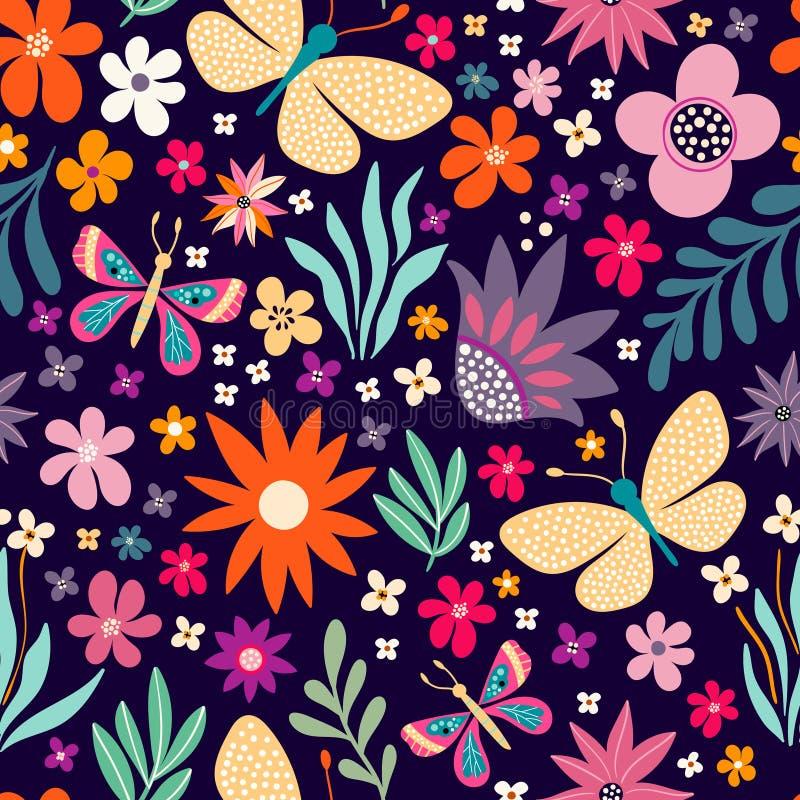 Modello senza cuciture decorativo con i fiori e le farfalle illustrazione di stock