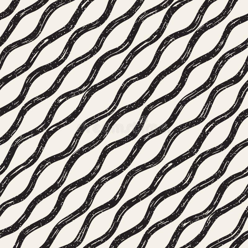 Modello senza cuciture decorativo con le linee di scarabocchio illustrazione di stock