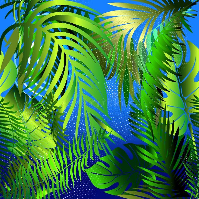 Modello senza cuciture decorativo delle foglie di palma Estratto blu b di vettore royalty illustrazione gratis