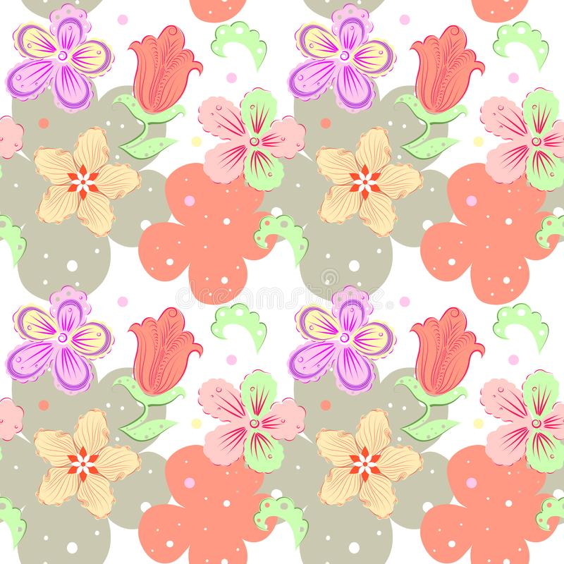 Modello senza cuciture decorativo floreale con i fiori disegnati a mano di fantasia nei colori pastelli su un fondo bianco royalty illustrazione gratis