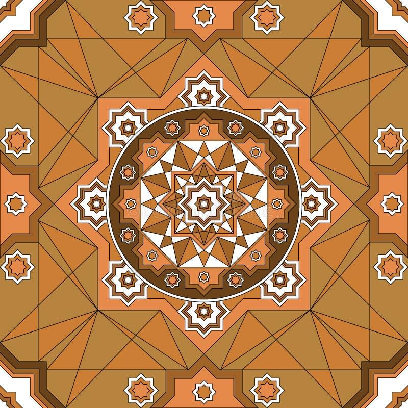 Modello senza cuciture decorato orientale Fondo senza cuciture luminoso etnico Illustrazione di vettore illustrazione vettoriale