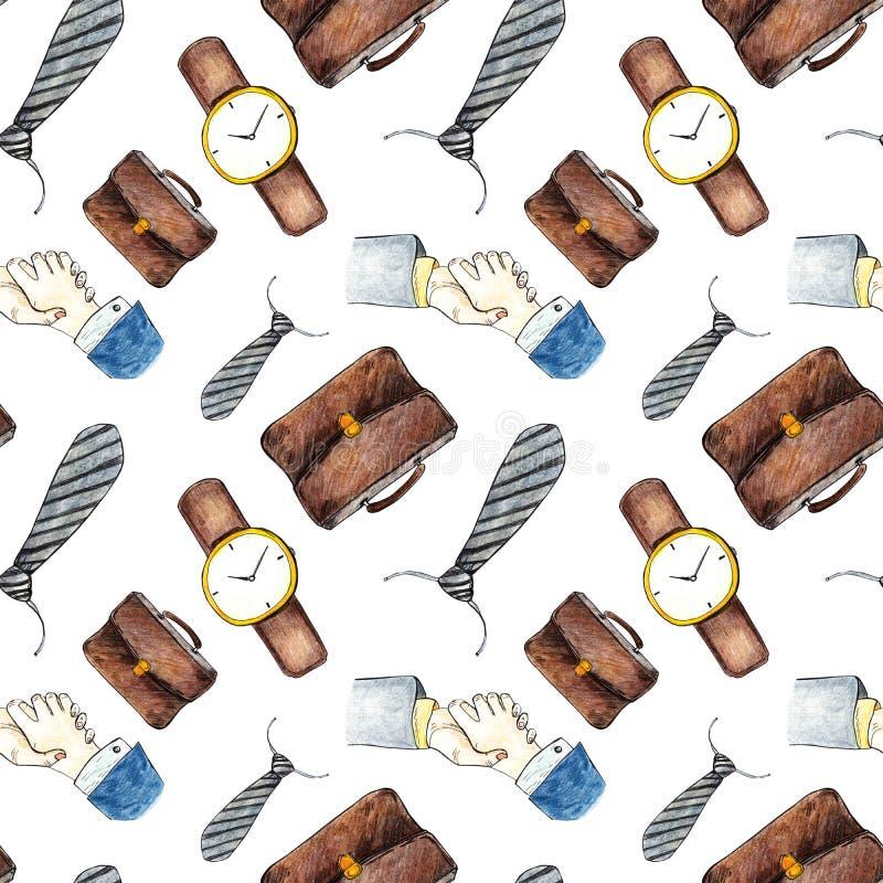Modello senza cuciture degli accessori e del guardaroba degli uomini nell'affare su fondo bianco Io llustration disegnato a mano  royalty illustrazione gratis