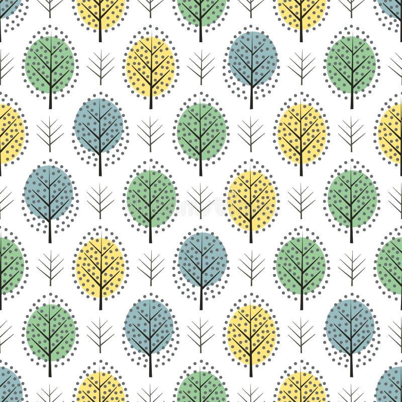 Modello senza cuciture degli alberi decorativi scandinavi svegli di stile illustrazione vettoriale