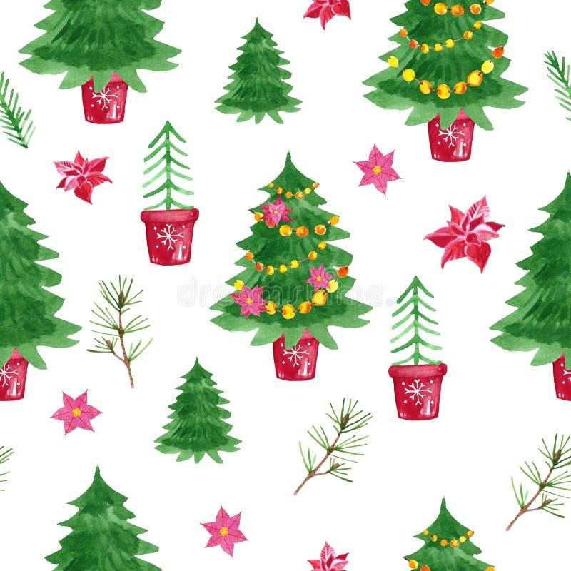 Modello senza cuciture degli alberi di Natale dell'acquerello di simbolo di festa su fondo bianco illustrazione di stock