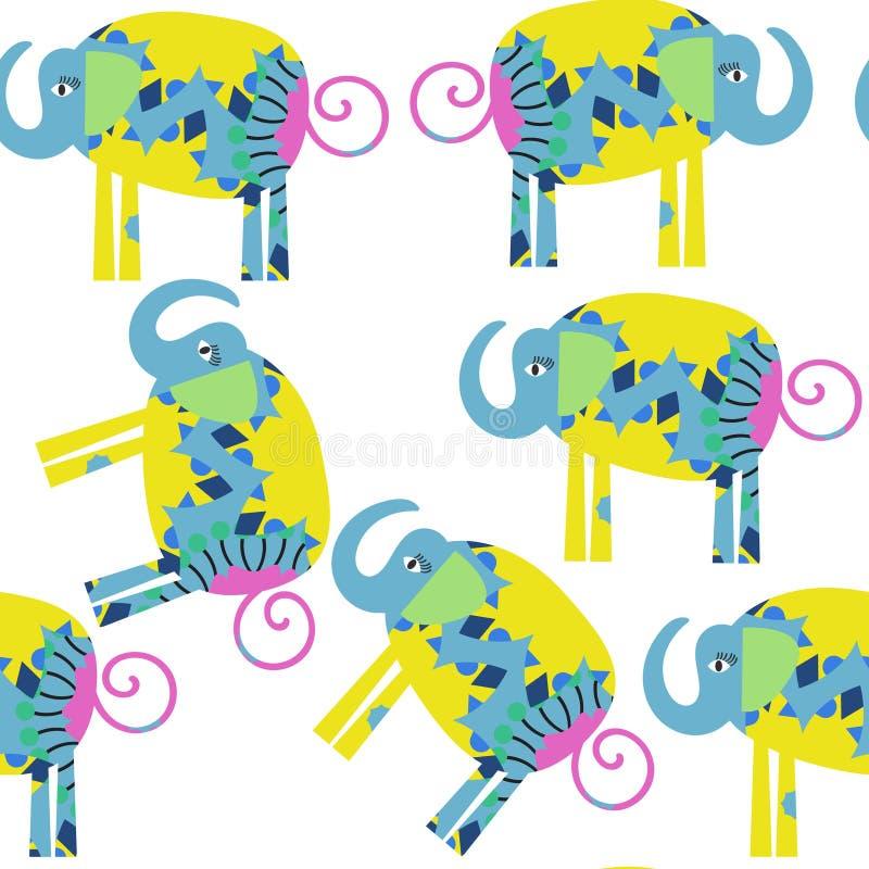 Modello senza cuciture degli elefanti divertenti È situato nel menu del campione, illustrazione di stock