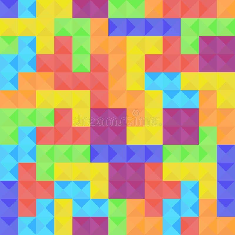 Modello senza cuciture degli elementi del gioco di Tetris illustrazione vettoriale