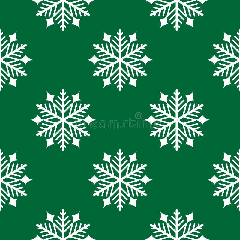 Modello senza cuciture degli elementi di Natale con il fiocco di neve su fondo verde illustrazione vettoriale