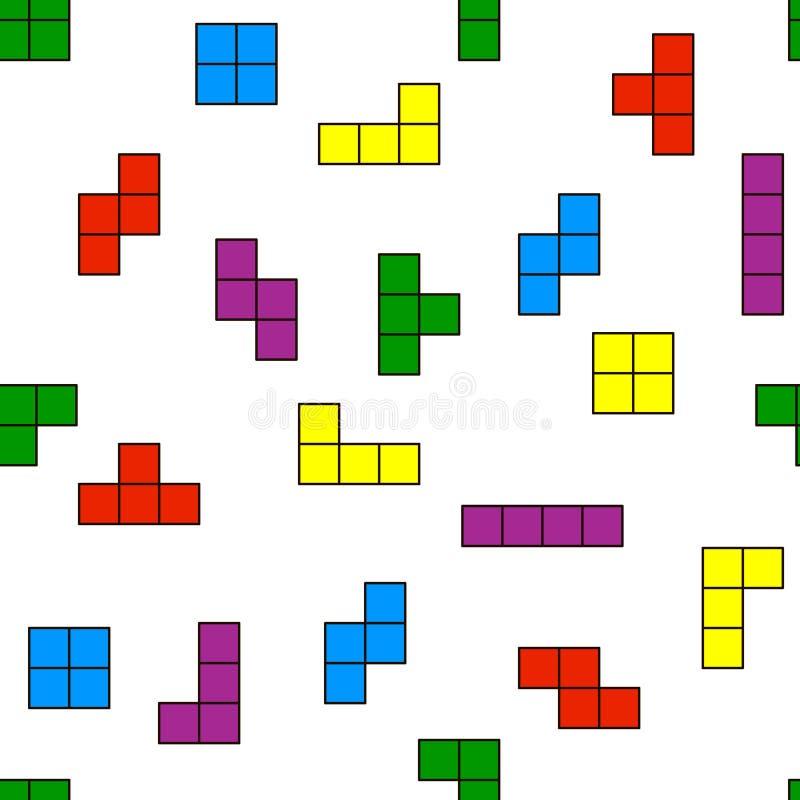 Modello senza cuciture degli elementi di Tetris illustrazione vettoriale