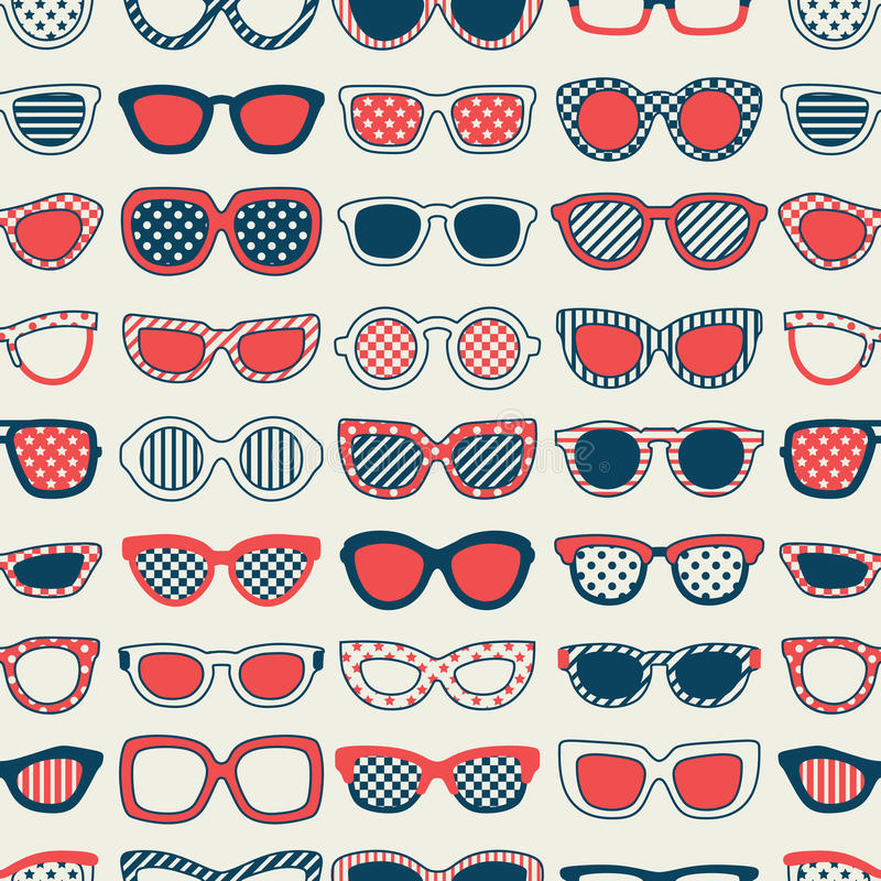 Modello senza cuciture degli occhiali di modo illustrazione di stock