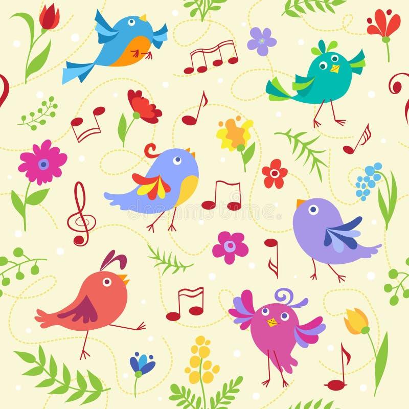 Modello senza cuciture degli uccelli musicali svegli della molla royalty illustrazione gratis
