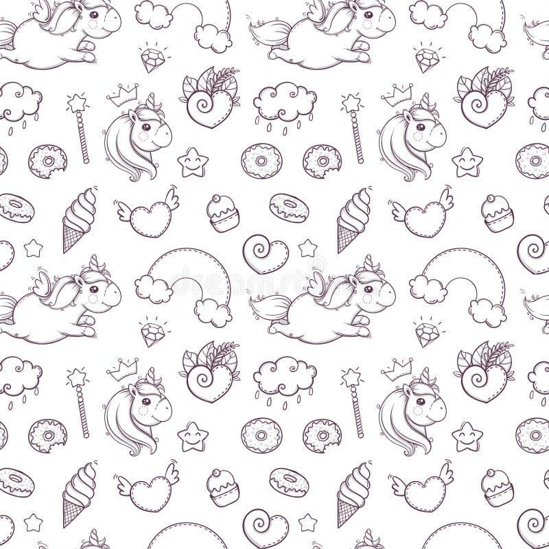 Modello senza cuciture degli unicorni disegnati a mano su fondo bianco pagina di coloritura per i bambini e l'adulto Illustrazion illustrazione vettoriale