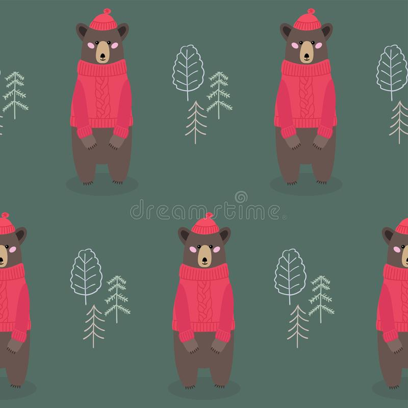 Modello senza cuciture dei bambini con gli orsi nella foresta illustrazione vettoriale