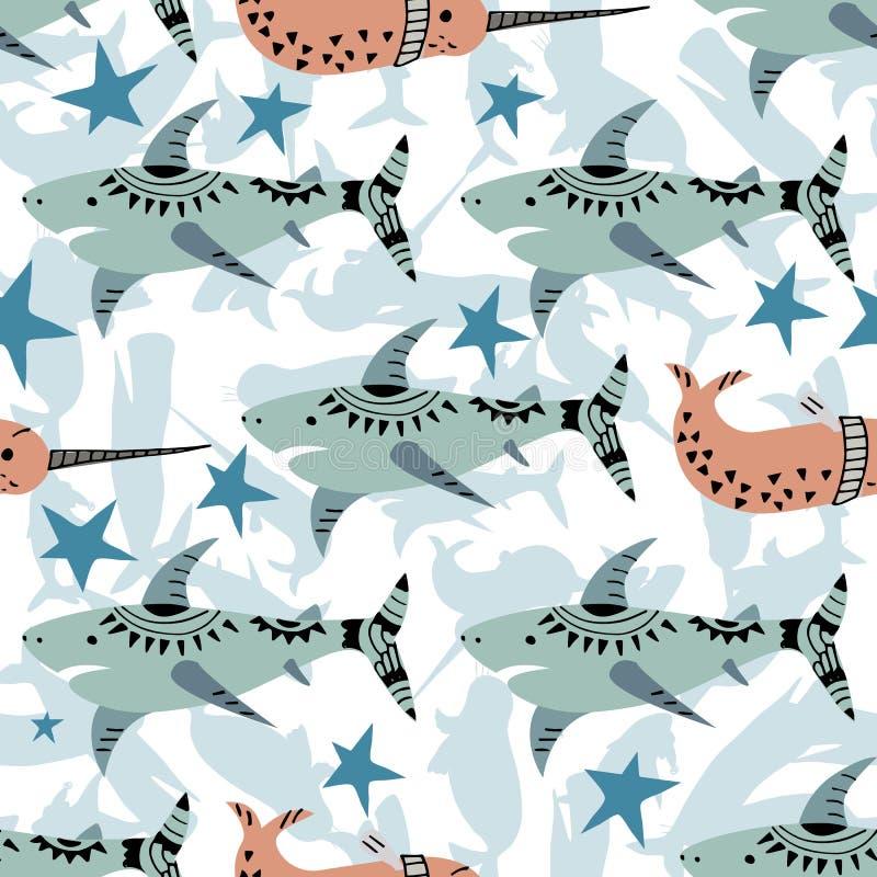 Modello senza cuciture dei bambini intelligenti nello stile marino Illustrazione di vettore con lo squalo nello stile scandinavo illustrazione vettoriale