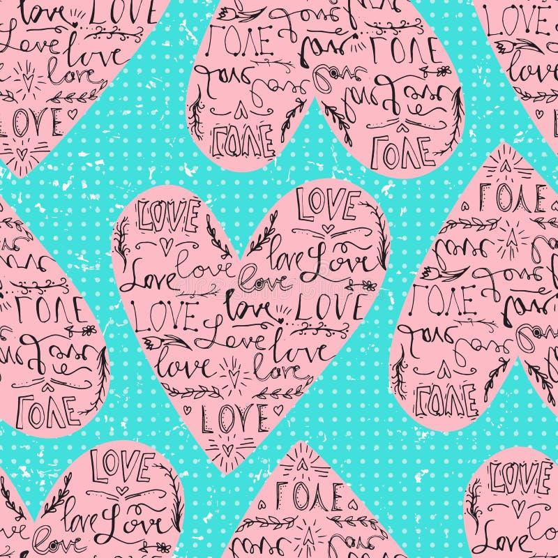 Modello senza cuciture dei biglietti di S. Valentino con la frase di amore e del cuore Contesto del pois Illustrazione di vettore illustrazione vettoriale