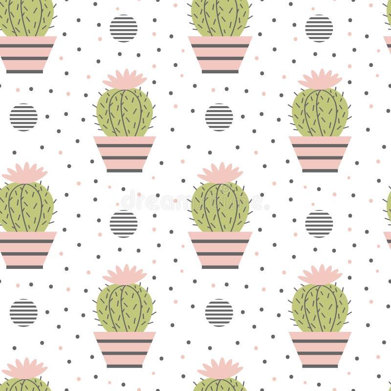 Modello senza cuciture dei cactus illustrazione vettoriale