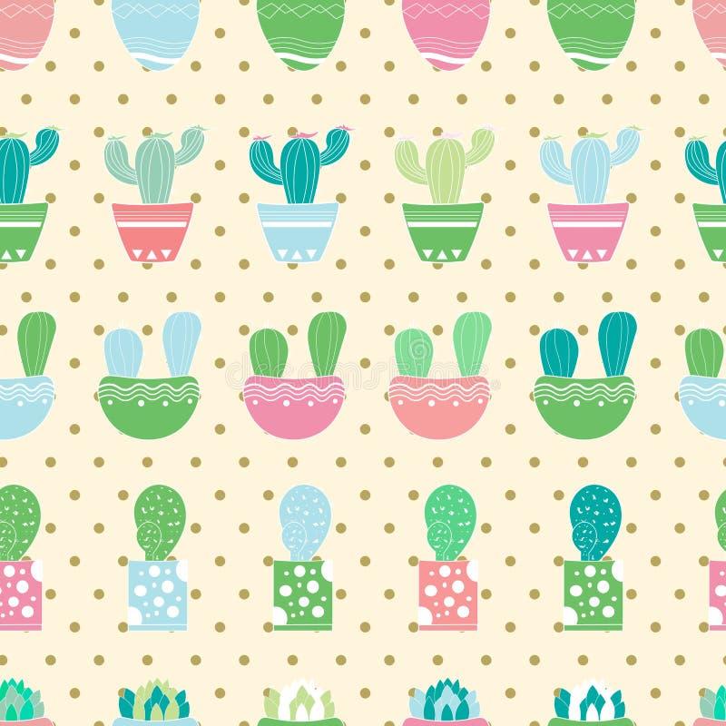 Modello senza cuciture dei cactus per il vostro designe grafico Pois illustrazione di stock