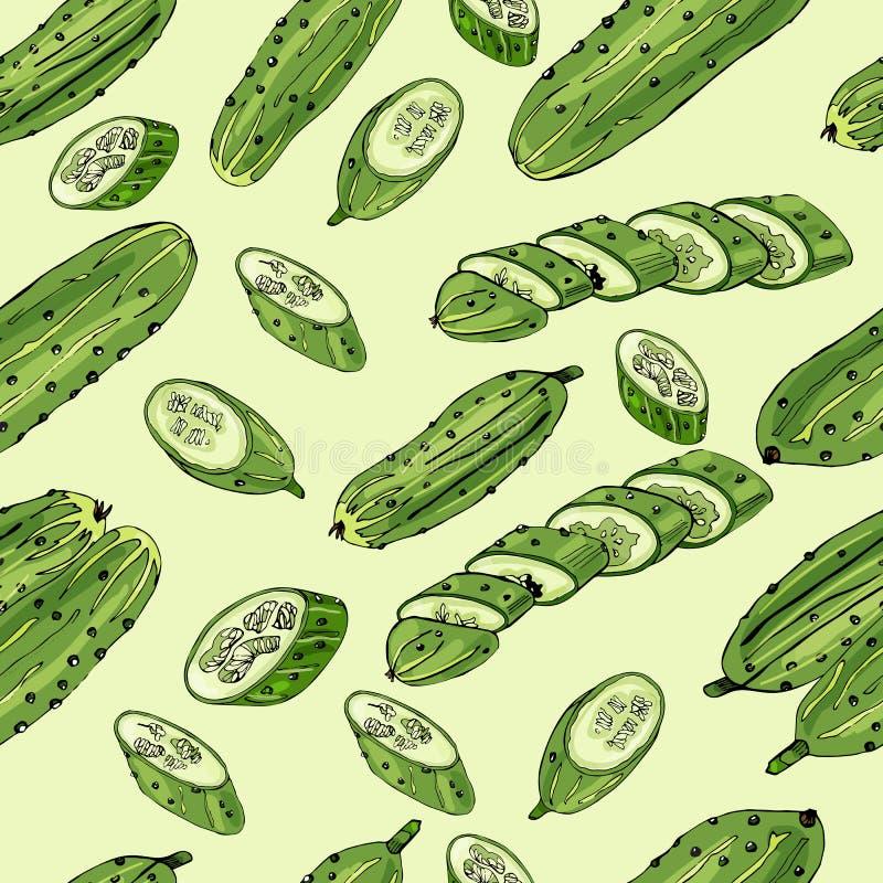 Modello senza cuciture dei cetrioli verdi disegnati a mano Inchiostro e schizzo colorato su fondo verde chiaro Interi ed elementi illustrazione vettoriale