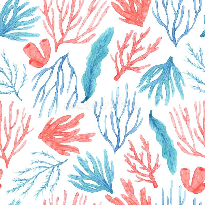 Modello senza cuciture dei coralli e dell'alga disegnati a mano dell'acquerello royalty illustrazione gratis