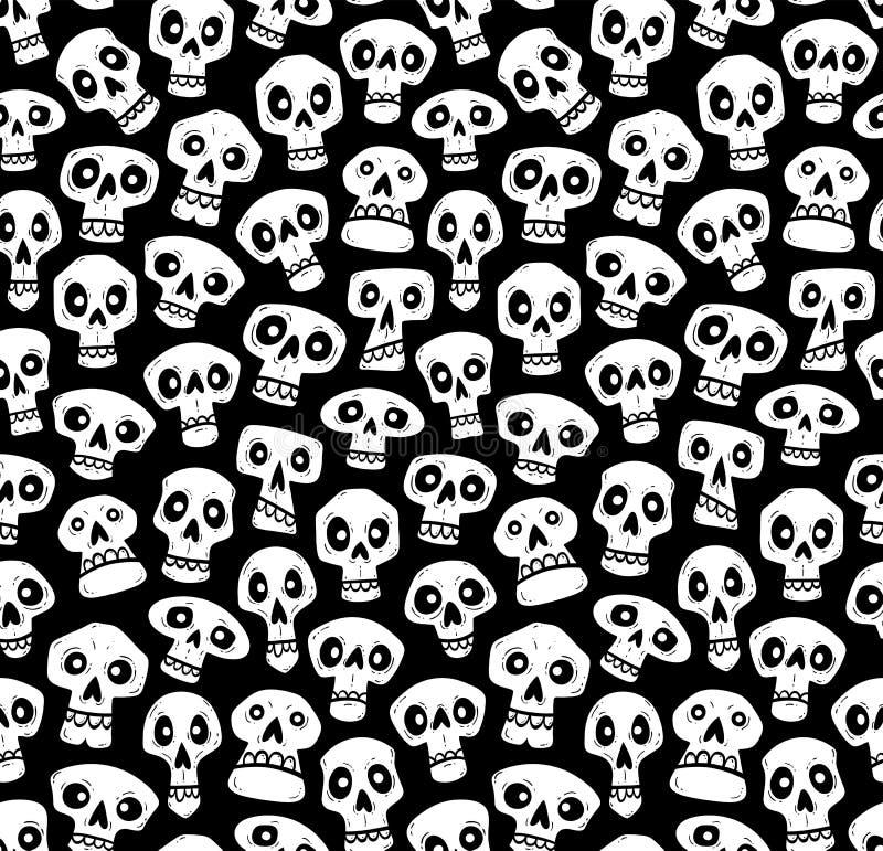 Modello senza cuciture dei crani divertenti del fumetto illustrazione di stock
