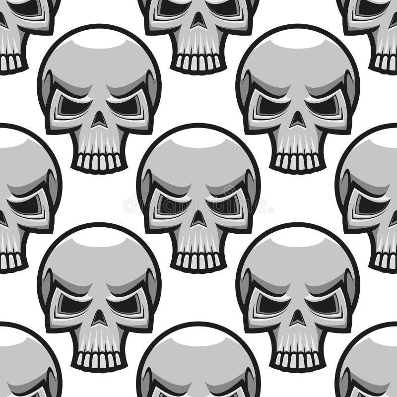 Modello senza cuciture dei crani nello stile del fumetto illustrazione vettoriale