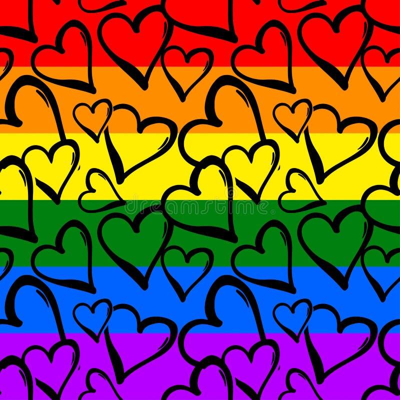 Modello senza cuciture dei cuori colorato arcobaleno di gay pride royalty illustrazione gratis