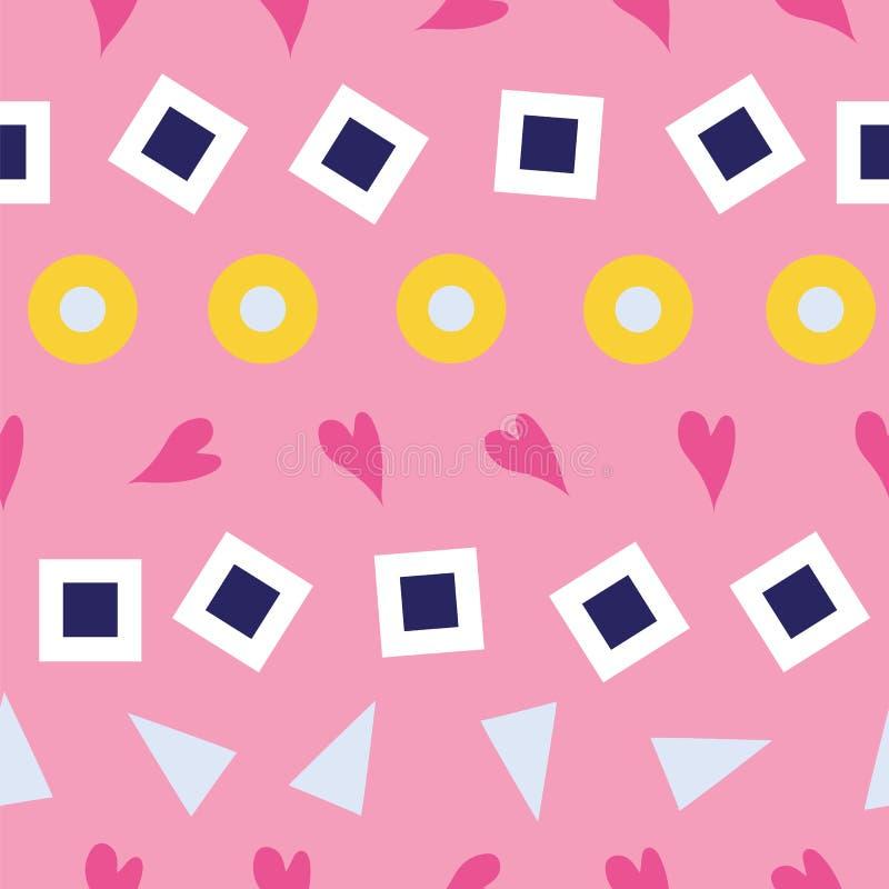 Modello senza cuciture dei cuori, dei quadrati, delle bolle e dei triangoli su un fondo rosa illustrazione di stock